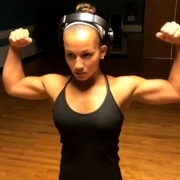 18 years old Fitness girl Maya Flexing muscles