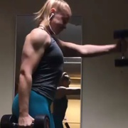 18 years old Fitness girl Cecilie Workout muscles