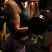 18 years old Fitness girl Cecilie Biceps curls