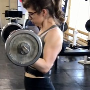 14 years old Fitness girl Karina Biceps curls