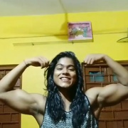 16 years old Fitness girl Suprity Flexing biceps